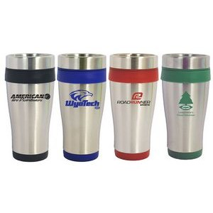16 Oz. Stainless Steel Travel Tumbler w/ Plastic Interior & Slide Close Lid
